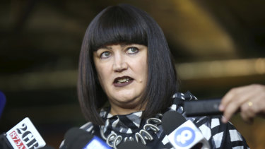 Raelene Castle addresses media during the Israel Folau saga.
