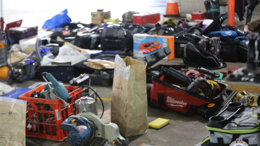 Allegedly stolen goods discovered in the basement of the Pyrmont Complex.