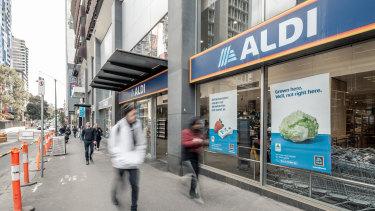 Aldi supermarket at 8 Franklin Street, Melbourne.