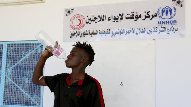 A Malian survivor of a shipwreck at the Zarzis Red Crescent centre in southern Tunisia on Thursday.