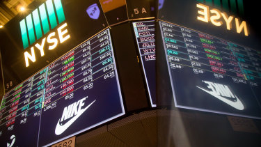 Nike shares slid overnight.