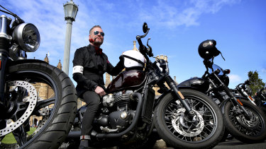 Bernie Callan on his Triumph Bobber at the Distinguished Gentleman's Ride.