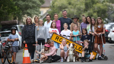 Waverley Council's mayor Paula Masselos (far left) is piloting the closure of streets so children can play, and neighbours can get together.