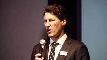 John Eales speaking at the launch of the International Rugby Academy of Australia in Sydney on Friday.