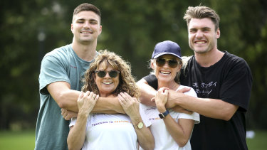'Homesick': Jack Maddocks (left) and close mate and Roosters player Angus Crichton (right) with their mothers last year.