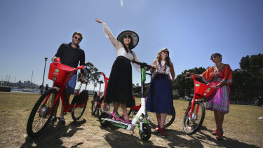George Morrison, Alice Hidajat, Wendy Rattray, and Narelle Mattau with the new Lime bikes that will relaunch in Sydney on Monday.