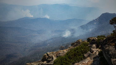 The burnt out areas of Mount Buffalo on Saturday.