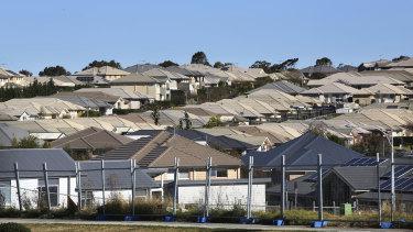 New homes under construction near Camden on Sydney's urban fringe.