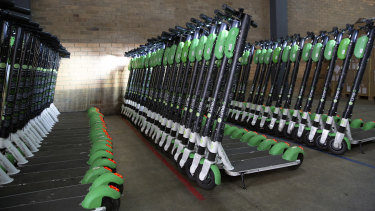 Lime scooters in the company's Brisbane warehouse.