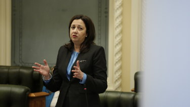 Premier Annastacia Palaszczuk during Question Time on the last sitting day of Parliament before the October 2020 election.