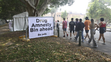 Drug amnesty bins were placed near the entry of Field Day music festival in the Domain on New Year's Day.