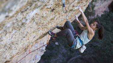 Inspired to do more: champion young Mount Victoria climber Angie Scarth-Johnson in action in Margalef, Spain.