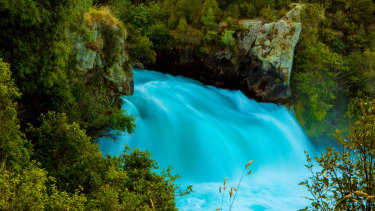 Aerial shot of Huka Falls at Lake Taupo in New Zealand.