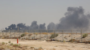 Smoke fills the sky at the Abqaiq oil processing facility in Saudi Arabia on Saturday.