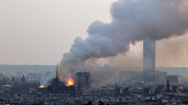 Notre-Dame Cathedral burning in Paris.