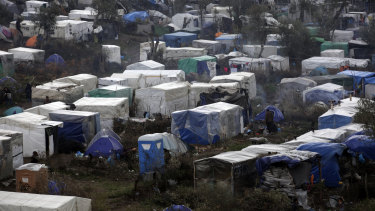 A makeshift camp for refugees and migrants on the Greek island of Lesvos.