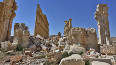 Damage in the ancient city of Palmyra, Syria, after Islamic State fighters were driven out in 2016.