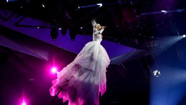 Touching the sky: Kate Miller-Heidke on stage in Tel Aviv.
