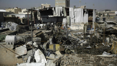 The site of an air strike by Saudi-led coalition in Sanaa, Yemen, last month. The US has helped the Saudi-led coalition with intelligence, logistics and aircraft refuelling.