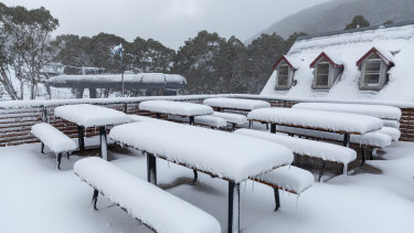 Empty tables at Thredbo in May.