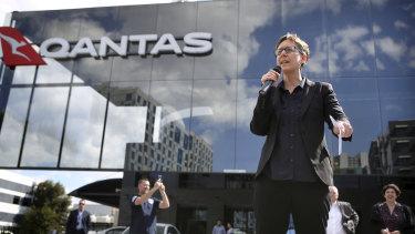 ACTU secretary Sally McManus outside Qantas' headquarters on Monday.