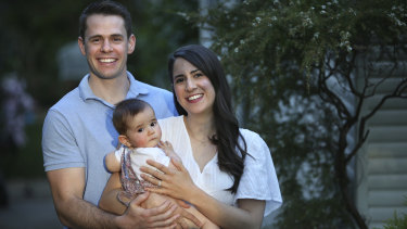 Laura Aubusson and husband James with their daughter Harper.