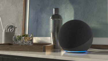 The New Amazon Echo is a sphere with a ring of light around the bottom.