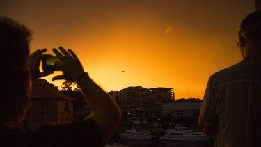 Bright orange sunset viewed from Pyrmont.