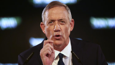 Former Israeli Chief of Staff Benny Gantz speaks at the official launch of his election campaign in Tel Aviv, Israel in January.