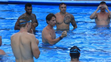 Control: Nam Baldwin explains his methods to the NSW Origin side in Armidale.