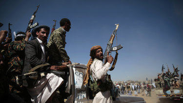 Houthi rebels mobilise to fight pro-government forces in Sanaa, the capital of Yemen, in 2017.