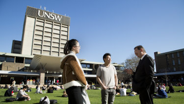 UNSW vice-chancellor Ian Jacobs chats to students on the Kensington campus.