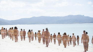 "People of all shapes, sizes and ages turned out for Spencer Tunick's ""Sea Earth Change"" photo shoot for The Iconic."