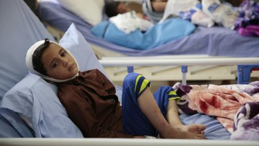 A child injured in a deadly Saudi-led coalition airstrike rests in a hospital in Saada, Yemen.
