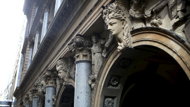 Detail of sandstone above Martin Place on the Victorian GPO Building.