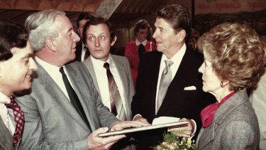 Hugh Peskett with Ronald and Nancy Reagan.