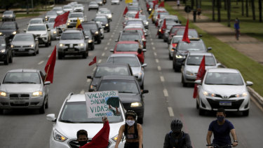 A caravan in protest against the government's response in combating COVID-19 in Brasilia, Brazil.