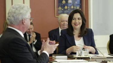 Premier Annastacia Palaszczuk being sworn in for a third term on Thursday.