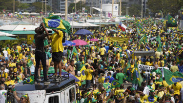 Supporters of President Jair Bolsonaro gather at Copacabana beach in Rio de Janeiro, Brazil.