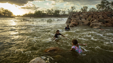 The Brewarrina weir on the Barwon River in north-west NSW. First Nations groups are urging the federal government to increase the speed and volume of the rollout of their water rights.