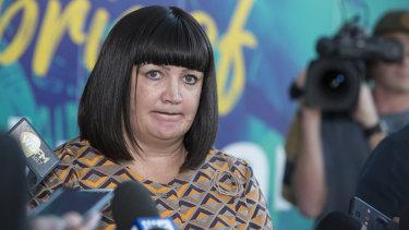 Under pressure: Rugby Australia chief executive Raelene Castle announces the sacking of Israel Folau on Friday.