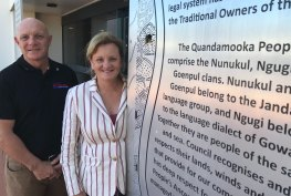 Redlands mayor Karen Williams - pictured with Cleveland-North Stradbroke councillor Peter Mitchell - warned the state government in 2018 that poor communication over the transfer of land back to Quandamooka people could affect the transition from sand mining.