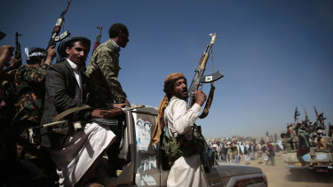 Newly recruited Shiite fighters, known as Houthis, mobilise to fight pro-government forces, in Sanaa, Yemen in 2017.