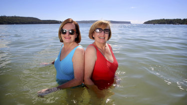 Elissa Ferris and Catherine McKew take a dip at  Balmoral Beach.