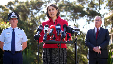 Premier Gladys Berejiklian announcing the border closure on Monday.