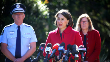 Premier Gladys Berejiklian, with NSW Police Commissioner Mick Fuller and chief health office Kerry Chant, has taken the unprecedented step of closing the NSW-Victoria border.