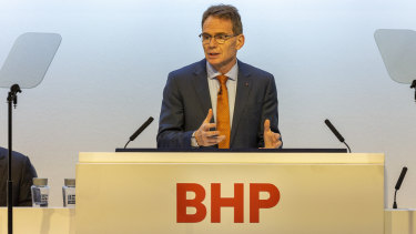 """""""You can't suddenly lurch from running a fossil fuel world to a world that's fully based on renewables without causing incredible disruption,"""" BHP CEO Andrew Mackenzie told shareholders in London."""