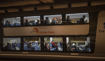 A train carriage at Green Square, which Transport Minister Andrew Constance identified as a busy zone at peak hour in May.