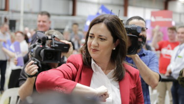 Premier Annastacia Palaszczuk leaves the stage after speaking at Sunday's campaign launch.