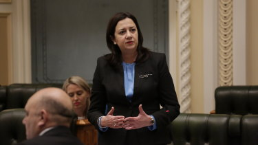 Queensland Premier Annastacia Palaszczuk on the final sitting day of parliament ahead of the election.